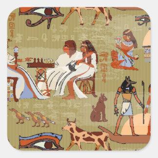 Adesivo Quadrado Teste padrão dos símbolos de Egipto |