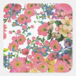 Adesivo Quadrado teste padrão floral do tema das flores elegantes