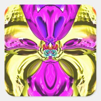 Adesivo Quadrado Teste padrão florescente legal do abstrato do