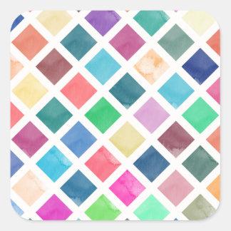 Adesivo Quadrado Teste padrão geométrico da aguarela