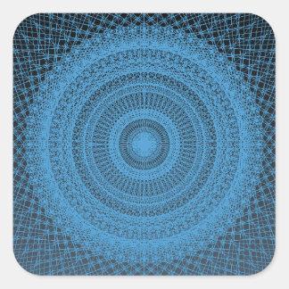 Adesivo Quadrado Teste padrão geométrico sagrado no azul