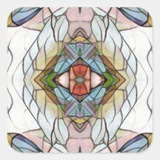 Adesivo Quadrado Teste padrão moderno artístico legal do vitral