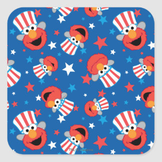 Adesivo Quadrado Teste padrão patriótico de Elmo