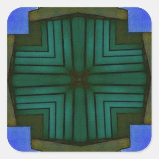 Adesivo Quadrado Teste padrão simétrico linear legal do verde azul