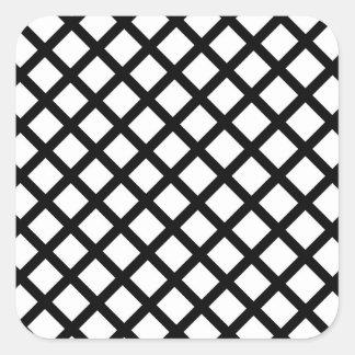Adesivo Quadrado Teste padrão simples preto e branco