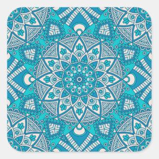 Adesivo Quadrado Teste padrão vitral de Boho de turquesa floral
