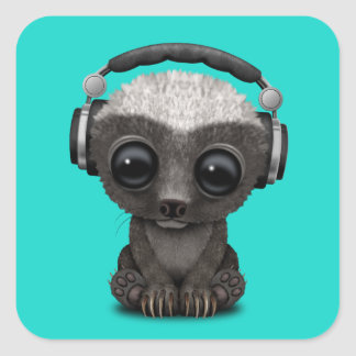 Adesivo Quadrado Texugo de mel bonito DJ do bebê que veste fones de
