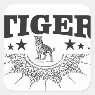 Adesivo Quadrado tigre feliz