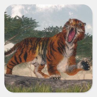 Adesivo Quadrado Tigre que ruje - 3D rendem