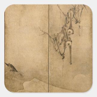 Adesivo Quadrado Tinta japonesa nos primatas de papel & na paisagem