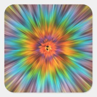 Adesivo Quadrado Tintura colorida Starburst do laço