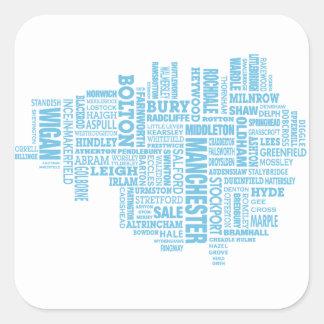 Adesivo Quadrado Tipo azul mapa de maior Manchester