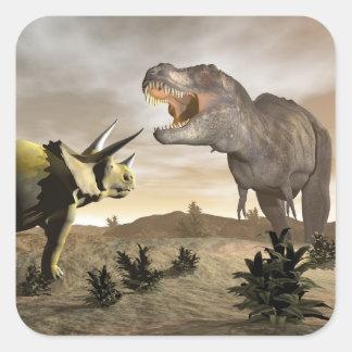Adesivo Quadrado Tiranossauro que ruje no triceratops - 3D rendem
