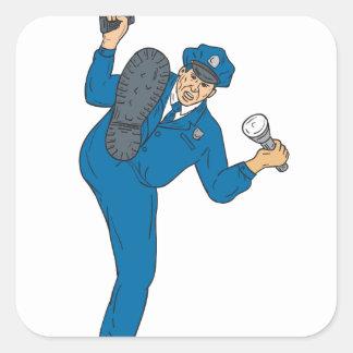 Adesivo Quadrado Tocha da lanterna elétrica da arma do polícia que