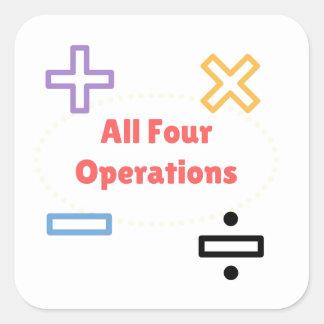 Adesivo Quadrado Todas as quatro operações