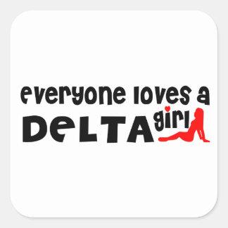 Adesivo Quadrado Todos ama uma menina do delta