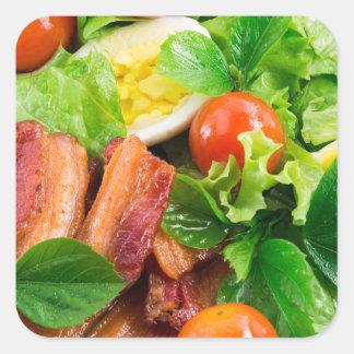 Adesivo Quadrado Tomates de cereja, ervas, azeite, ovos e bacon