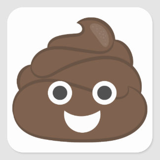 Adesivo Quadrado Tombadilho parvo louco Emoji de Brown