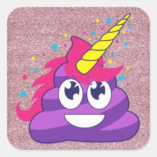 Adesivo Quadrado Tombadilho roxo do unicórnio de Emoji (brilho