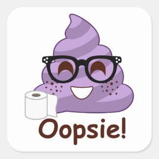 Adesivo Quadrado Tombadilho roxo Emoji Oops
