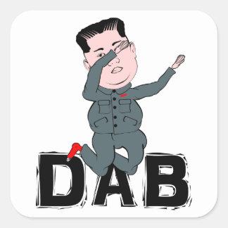 Adesivo Quadrado Toque ligeiro do Jong-Un de Kim
