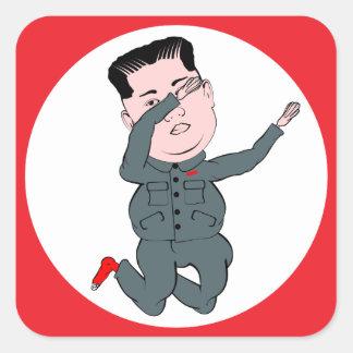 Adesivo Quadrado Toque ligeiro do Un de Kim Jong da Coreia do Norte