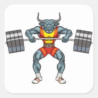 Adesivo Quadrado touro 3 do levantamento de peso