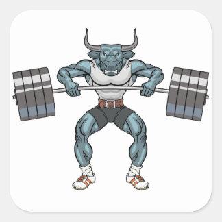 Adesivo Quadrado touro do levantamento de peso