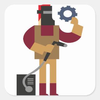 Adesivo Quadrado Trabalhador do metal