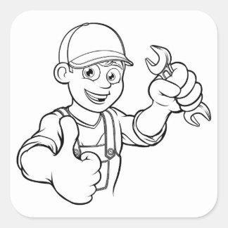 Adesivo Quadrado Trabalhador manual do mecânico ou do canalizador