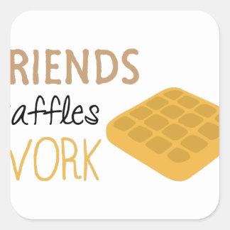 Adesivo Quadrado Trabalho dos Waffles dos amigos