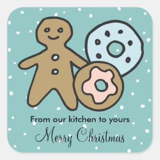 Adesivo Quadrado Tradições de presentes caseiros da comida do Natal