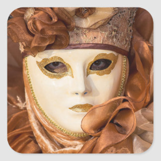 Adesivo Quadrado Traje alaranjado do carnaval, Veneza