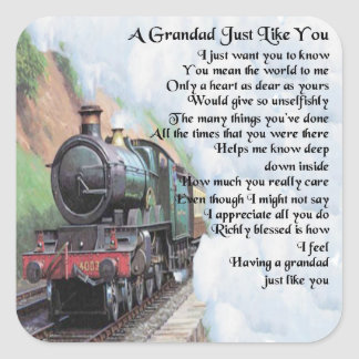 Adesivo Quadrado Trem - poema do Grandad