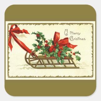 Adesivo Quadrado Trenó dourado do Natal do vintage