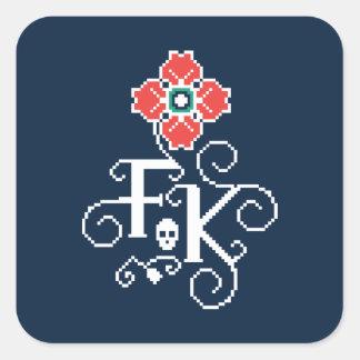 Adesivo Quadrado Tributo floral de Frida Kahlo |