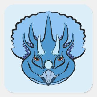 Adesivo Quadrado Triceratops azul bonito do dinossauro