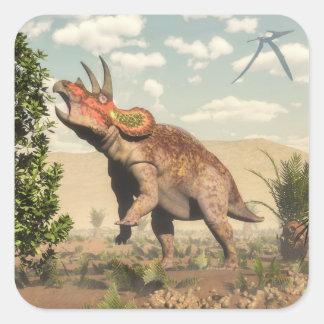Adesivo Quadrado Triceratops que come na árvore da magnólia - 3D