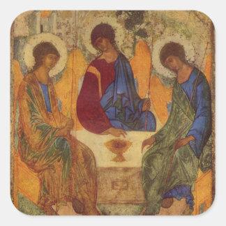 Adesivo Quadrado Trindade de Rublev na mesa