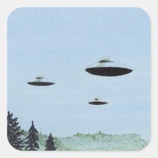 Adesivo Quadrado Trio do UFO
