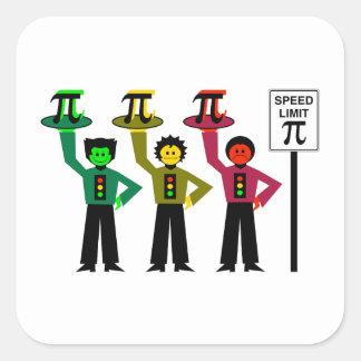 Adesivo Quadrado Trio temperamental do sinal de trânsito ao lado do