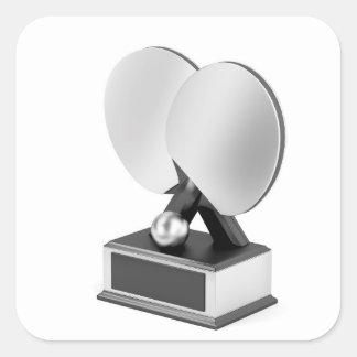 Adesivo Quadrado Troféu de prata do ténis de mesa