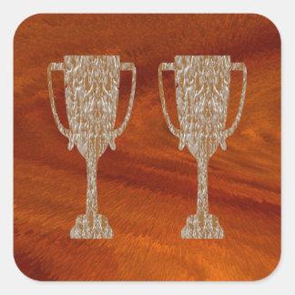 Adesivo Quadrado TROFÉU do ouro: Celebração da recompensa do prêmio