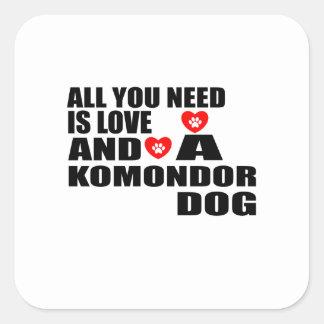 Adesivo Quadrado Tudo você precisa o design dos cães do amor