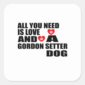 Adesivo Quadrado Tudo você precisa o design dos cães do SETTER de