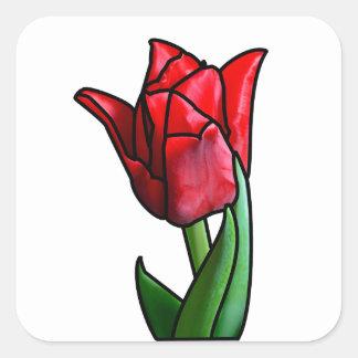Adesivo Quadrado Tulipa vermelha exótica do vitral