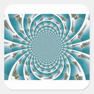 Adesivo Quadrado Turcos e Caicos de cima do caleidoscópio