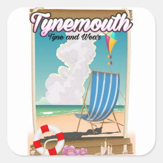 Adesivo Quadrado Tynemouth Tyne e desgaste, poster de viagens
