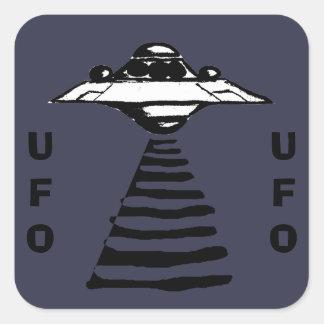 Adesivo Quadrado U.F.O - Preto & branco no roxo