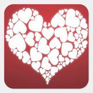 Adesivo Quadrado Um cheio do coração do amor